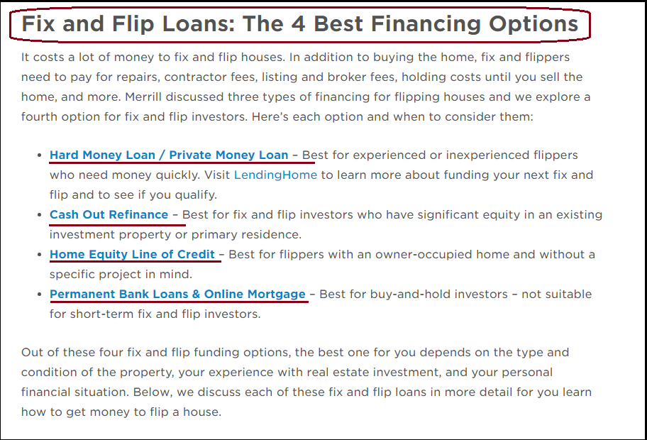 DC Fawcett Real Estate Fix and Flip Loans